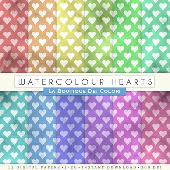 Grungy Watercolor heatrs Digital Paper, scrapbook backgrounds
