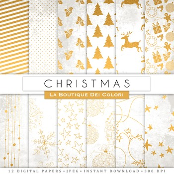 White and Gold Christmas Digital Paper, scrapbook backgrounds