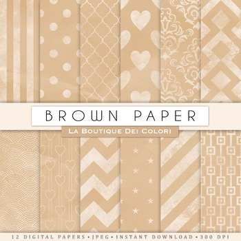 Kraft patterned Digital Paper, scrapbook backgrounds
