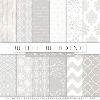 Classic White Wedding Digital Paper, scrapbook backgrounds