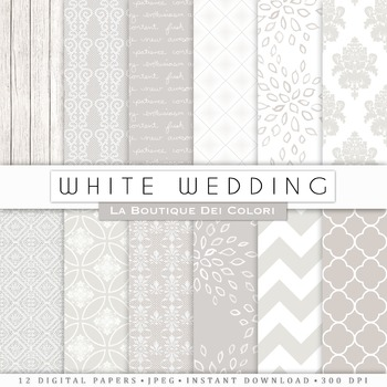 Classic White Wedding Digital Paper, scrapbook backgrounds