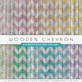 Chevron Wood Digital Paper, scrapbook backgrounds