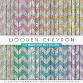 Chevron Wood Digital Paper, scrapbook backgrounds
