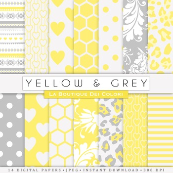 Yellow and gray Digital Paper, scrapbook backgrounds
