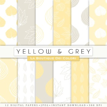 Yellow and Gray leaves  Digital Paper, scrapbook backgrounds