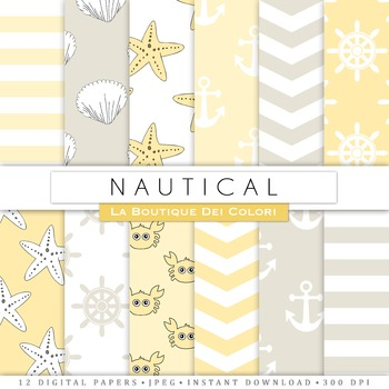 Yellow and Gray Nautical Digital Paper, scrapbook backgrounds