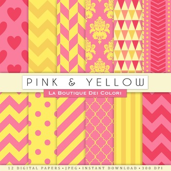 Pink and Yellow Digital Paper, scrapbook backgrounds