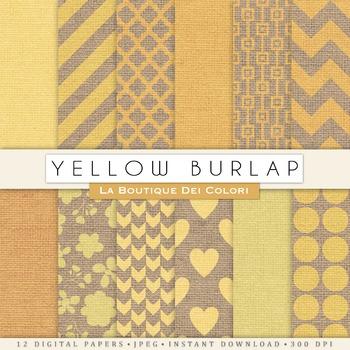 Cute Yellow Burlap Digital Paper, scrapbook backgrounds