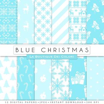 Blue Christmas Digital Paper, scrapbook backgrounds