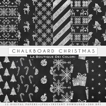 Chalkboard Christmas Digital Paper, scrapbook backgrounds