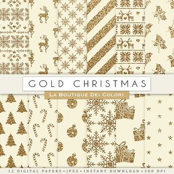 Vintage Gold Christmas Digital Paper, scrapbook backgrounds