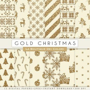 Vintage Gold Christmas Digital Paper, scrapbook backgrounds