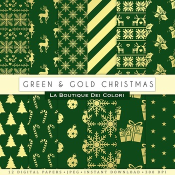 Green and Gold Christmas Digital Paper, scrapbook backgrounds