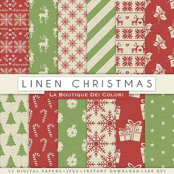 Linen Christmas Digital Paper, scrapbook backgrounds
