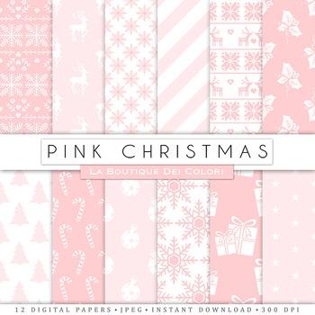 Pink Christmas Digital Paper, scrapbook backgrounds