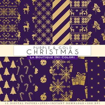 Purple and Gold Christmas Digital Paper, scrapbook backgrounds