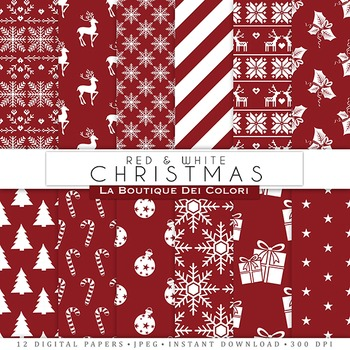 Red and White Christmas Digital Paper, scrapbook backgrounds