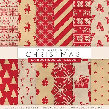Red Vintage Christmas Digital Paper, scrapbook backgrounds