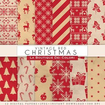 Red Vintage Christmas Digital Paper, scrapbook backgrounds