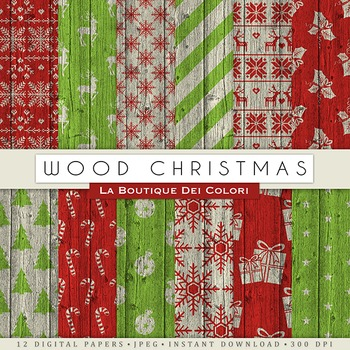 Wood Christmas Digital Paper, scrapbook backgrounds