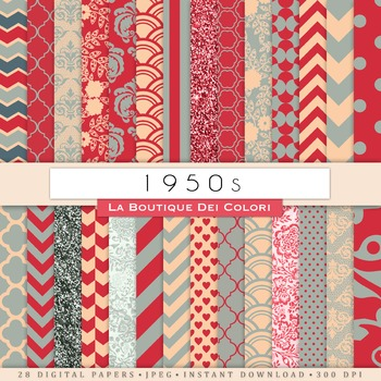 1950s Retro Digital Paper, scrapbook backgrounds