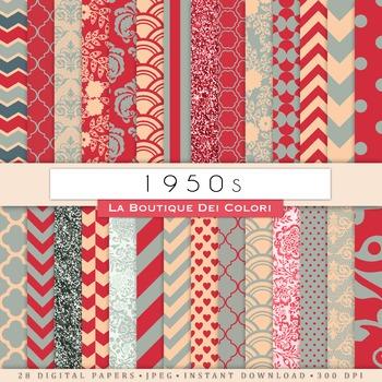 1950s Retro Digital Paper, scrapbook backgrounds