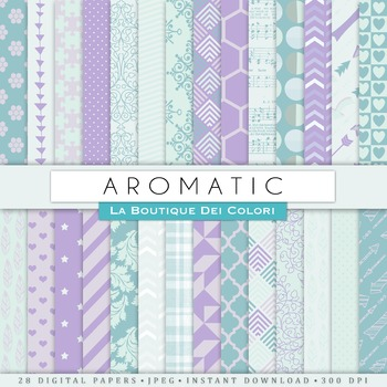 Aromatic Teal and Lavender Digital Paper, scrapbook backgrounds