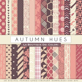 Autumn Hues Digital Paper, scrapbook backgrounds