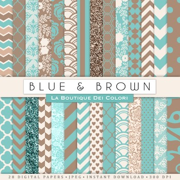Blue and Brown Digital Paper, scrapbook backgrounds