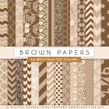 Brown Digital Paper, scrapbook backgrounds