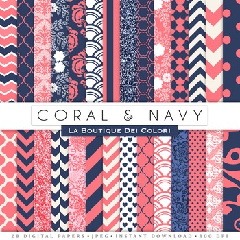Coral and Navy Digital Paper, scrapbook backgrounds