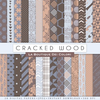 Cracked Wood Digital Paper, scrapbook backgrounds