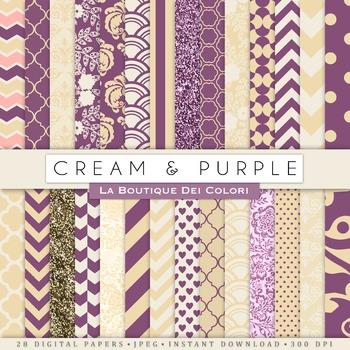 Cream and purple Digital Paper, scrapbook backgrounds