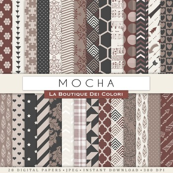 Mocha Brown Digital Paper, scrapbook backgrounds