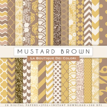 Mustard Yellow and Brown Digital Paper, scrapbook backgrounds