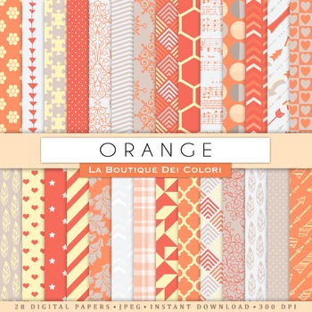 Orange and Gray Digital Paper, scrapbook backgrounds