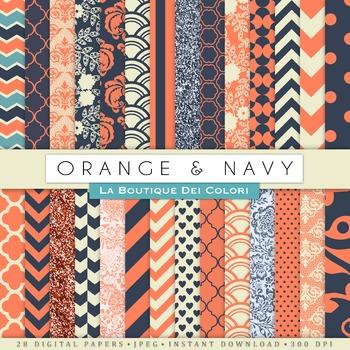 Orange and Navy Digital Paper, scrapbook backgrounds