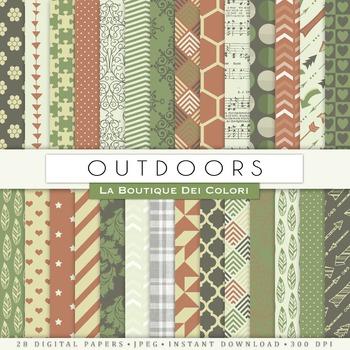 Green Outdoors Digital Paper, scrapbook backgrounds