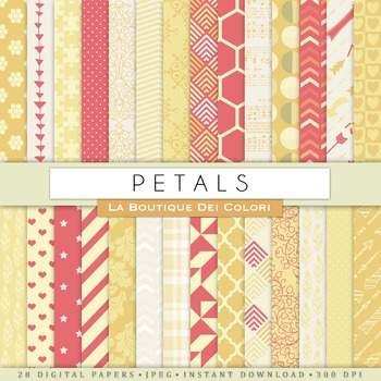 Red and Yellow Digital Paper, scrapbook backgrounds