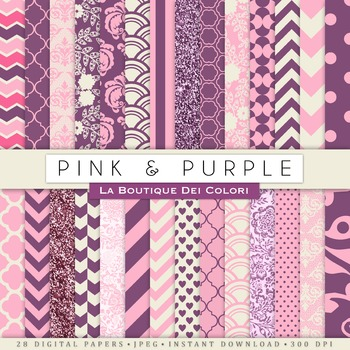 Pink and Purple Digital Paper, scrapbook backgrounds