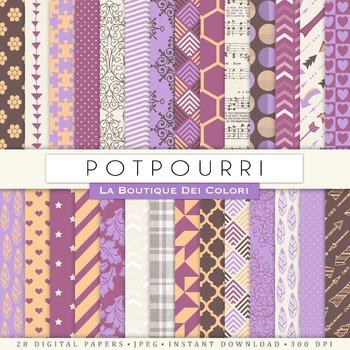 Potpourri Purple Digital Paper, scrapbook backgrounds