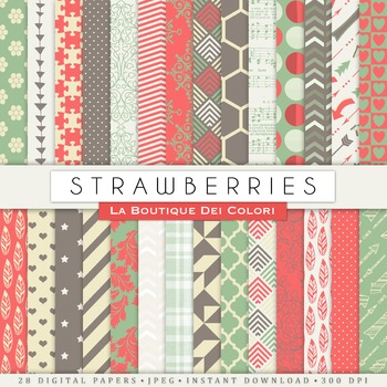 Strawberry Red and green Digital Paper, scrapbook backgrounds