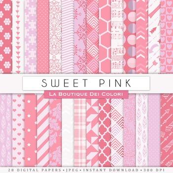 Sweet Pink Digital Paper, scrapbook backgrounds