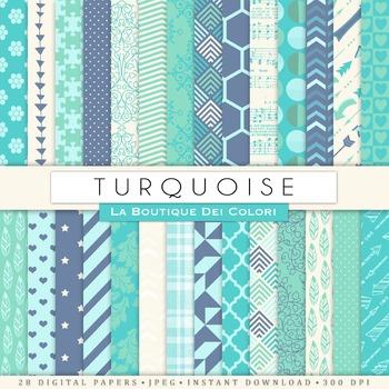 Turquoise Digital Paper, scrapbook backgrounds