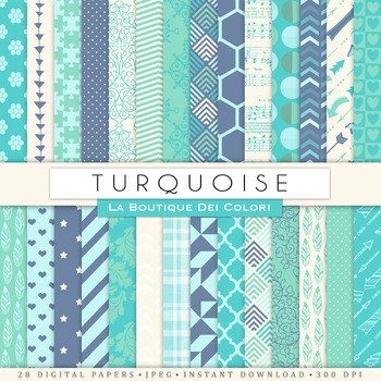 Turquoise Digital Paper, scrapbook backgrounds