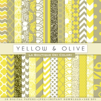 Yellow and Olive Digital Paper, scrapbook backgrounds