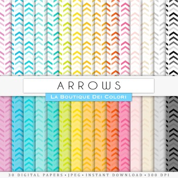 Rainbow Arrows Digital Papers, scrapbook backgrounds