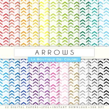 Rainbow Arrows Chevron Digital Paper, scrapbook backgrounds
