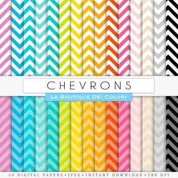 Rainbow Chevron Digital Paper, scrapbook backgrounds
