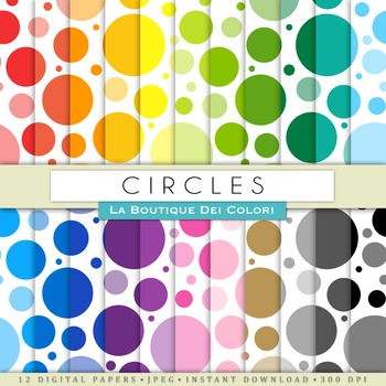Rainbow Circles Digital Paper, scrapbook backgrounds